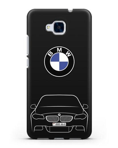 Чехол BMW 5 с автомобильным номером силикон черный для Honor 5C