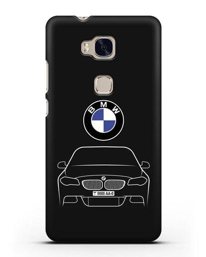 Чехол BMW 5 с автомобильным номером силикон черный для Honor 5X