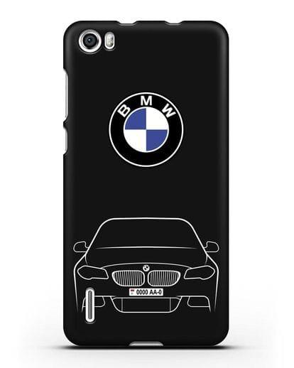 Чехол BMW 5 с автомобильным номером силикон черный для Honor 6