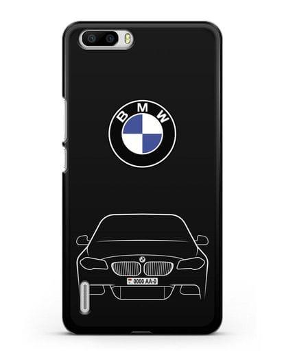 Чехол BMW 5 с автомобильным номером силикон черный для Honor 6 Plus