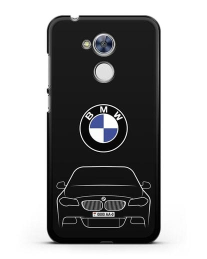 Чехол BMW 5 с автомобильным номером силикон черный для Honor 6A