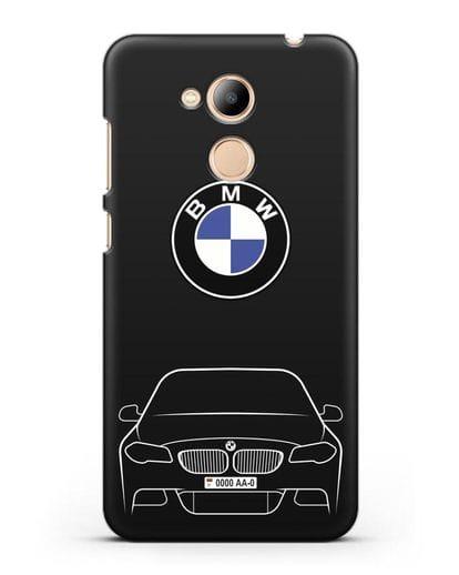 Чехол BMW 5 с автомобильным номером силикон черный для Honor 6C Pro