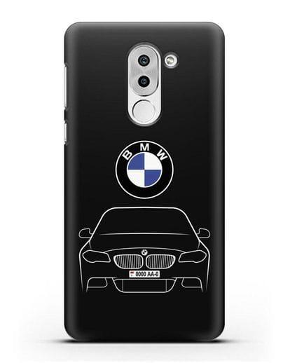 Чехол BMW 5 с автомобильным номером силикон черный для Honor 6X