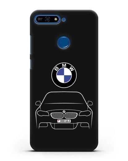 Чехол BMW 5 с автомобильным номером силикон черный для Honor 7А Pro