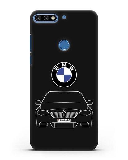 Чехол BMW 5 с автомобильным номером силикон черный для Honor 7C Pro