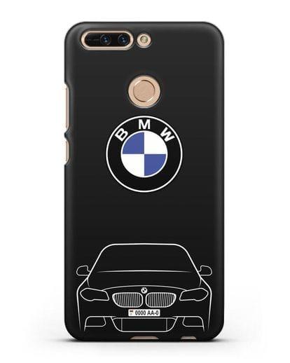 Чехол BMW 5 с автомобильным номером силикон черный для Honor 8 Pro