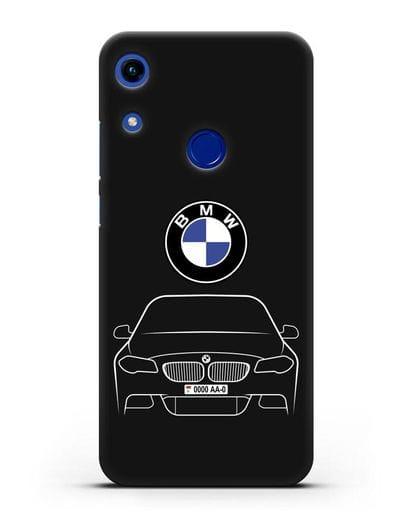 Чехол BMW 5 с автомобильным номером силикон черный для Honor 8A