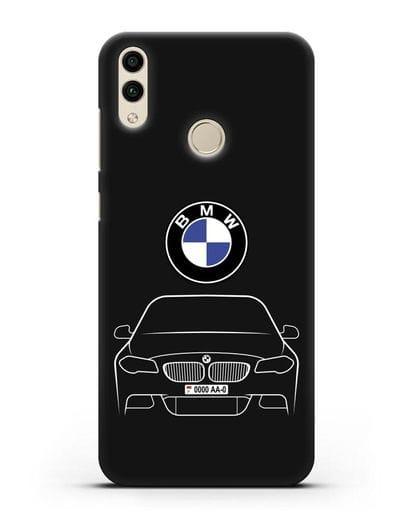 Чехол BMW 5 с автомобильным номером силикон черный для Honor 8C