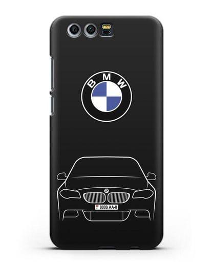 Чехол BMW 5 с автомобильным номером силикон черный для Honor 9