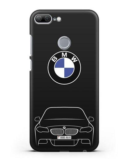 Чехол BMW 5 с автомобильным номером силикон черный для Honor 9 Lite