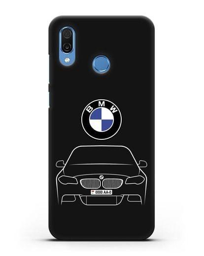 Чехол BMW 5 с автомобильным номером силикон черный для Honor Play