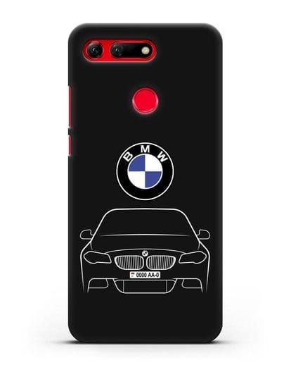 Чехол BMW 5 с автомобильным номером силикон черный для Honor View 20