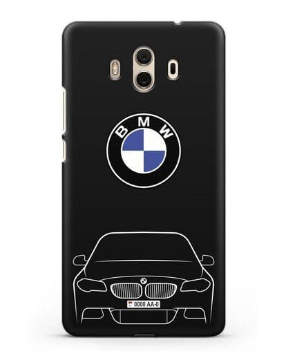 Чехол BMW 5 с автомобильным номером силикон черный для Huawei Mate 10