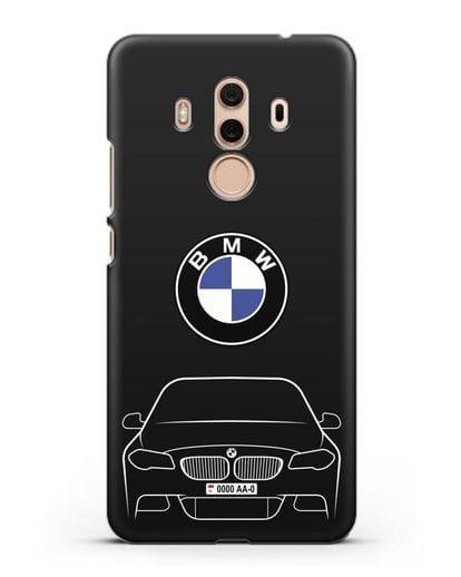 Чехол BMW 5 с автомобильным номером силикон черный для Huawei Mate 10 Pro