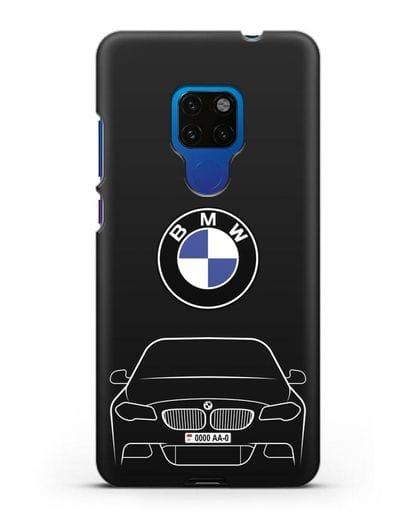 Чехол BMW 5 с автомобильным номером силикон черный для Huawei Mate 20