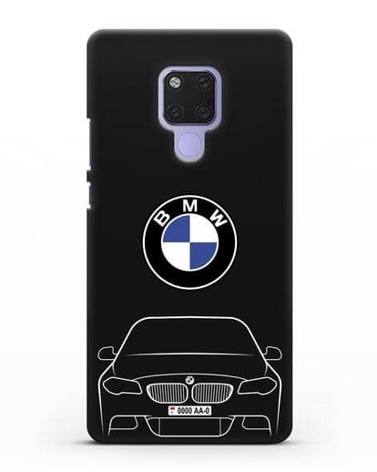 Чехол BMW 5 с автомобильным номером силикон черный для Huawei Mate 20X