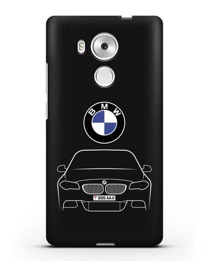 Чехол BMW 5 с автомобильным номером силикон черный для Huawei Mate 8