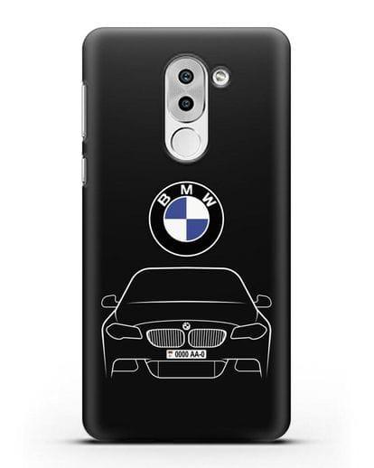 Чехол BMW 5 с автомобильным номером силикон черный для Huawei Mate 9 Lite