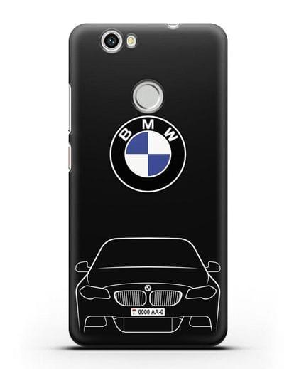 Чехол BMW 5 с автомобильным номером силикон черный для Huawei Nova