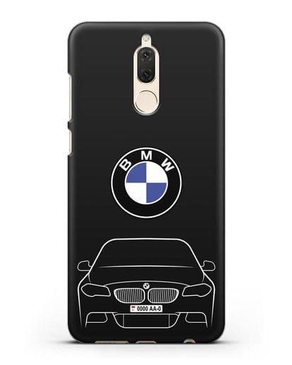 Чехол BMW 5 с автомобильным номером силикон черный для Huawei Nova 2