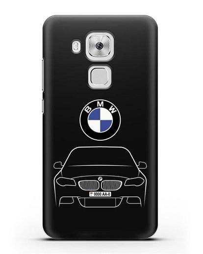 Чехол BMW 5 с автомобильным номером силикон черный для Huawei Nova Plus