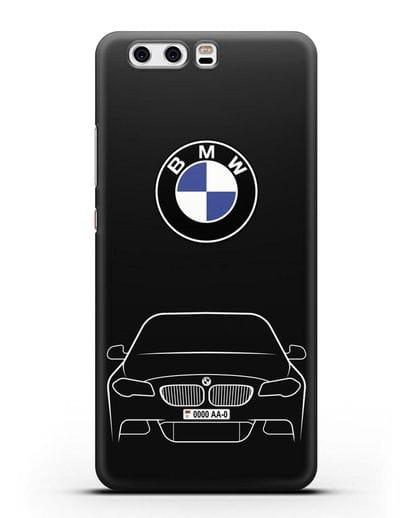 Чехол BMW 5 с автомобильным номером силикон черный для Huawei P10