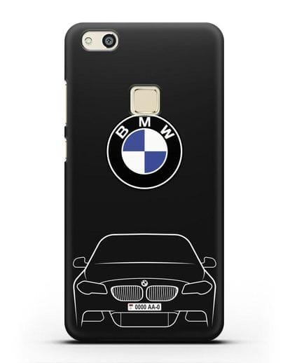 Чехол BMW 5 с автомобильным номером силикон черный для Huawei P10 Lite