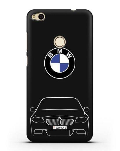 Чехол BMW 5 с автомобильным номером силикон черный для Huawei P8 Lite 2017