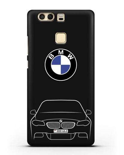 Чехол BMW 5 с автомобильным номером силикон черный для Huawei P9