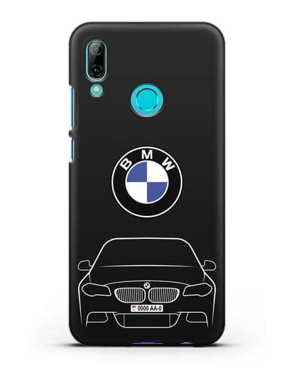 Чехол BMW 5 с автомобильным номером силикон черный для Huawei P Smart 2019