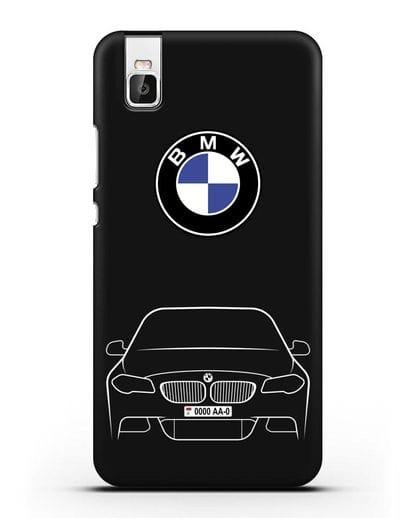 Чехол BMW 5 с автомобильным номером силикон черный для Huawei Shot X