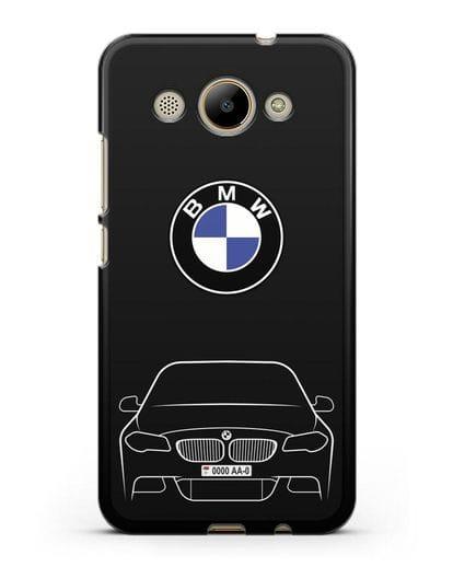 Чехол BMW 5 с автомобильным номером силикон черный для Huawei Y3 2017
