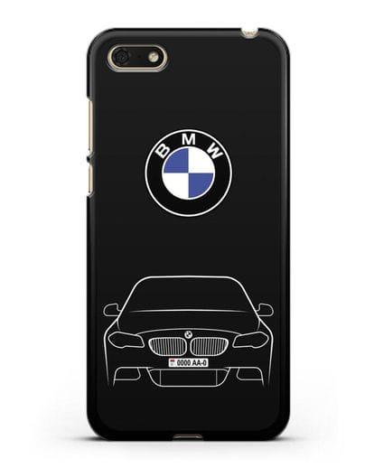 Чехол BMW 5 с автомобильным номером силикон черный для Huawei Y5 Prime 2018