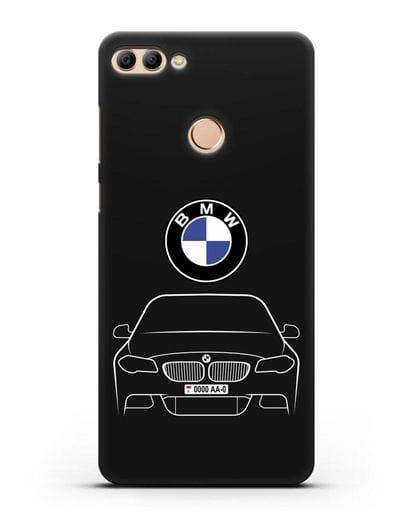 Чехол BMW 5 с автомобильным номером силикон черный для Huawei Y9 2018