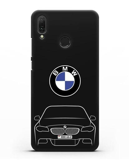 Чехол BMW 5 с автомобильным номером силикон черный для Huawei Y9 2019