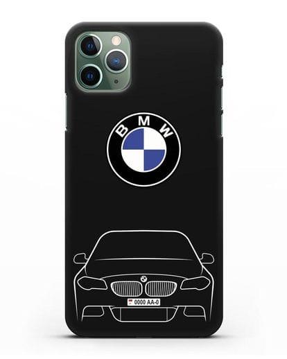 Чехол BMW 5 с автомобильным номером силикон черный для iPhone 11 Pro Max