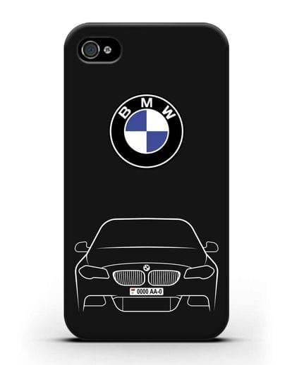 Чехол BMW 5 с автомобильным номером силикон черный для iPhone 4/4s