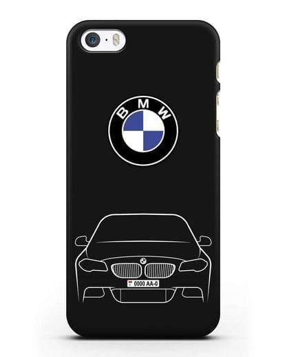Чехол BMW 5 с автомобильным номером силикон черный для iPhone 5/5s/SE