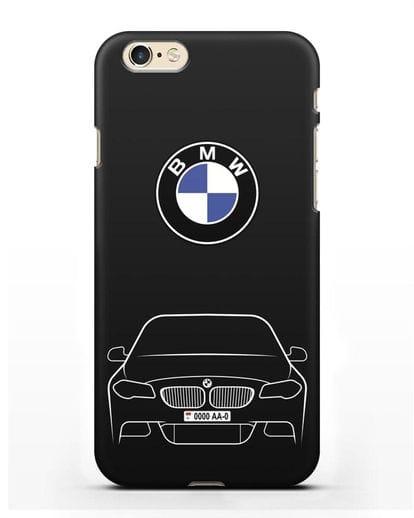 Чехол BMW 5 с автомобильным номером силикон черный для iPhone 6s