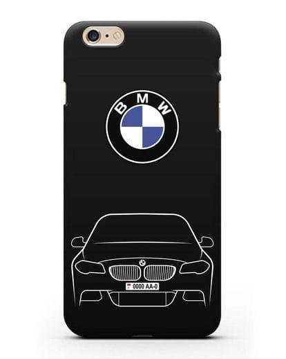 Чехол BMW 5 с автомобильным номером силикон черный для iPhone 6s Plus
