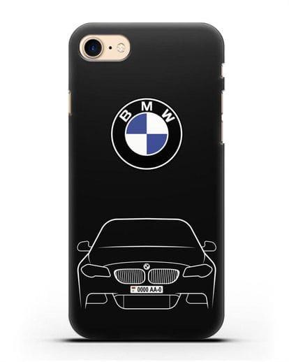Чехол BMW 5 с автомобильным номером силикон черный для iPhone 8