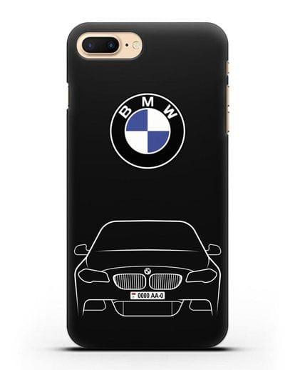 Чехол BMW 5 с автомобильным номером силикон черный для iPhone 8 Plus
