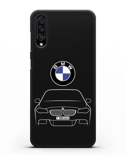Чехол BMW 5 с автомобильным номером силикон черный для Samsung Galaxy A30s [SM-A307FN]