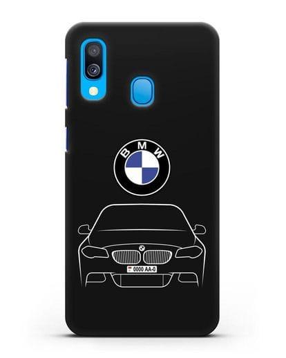 Чехол BMW 5 с автомобильным номером силикон черный для Samsung Galaxy A40 [SM-A405F]