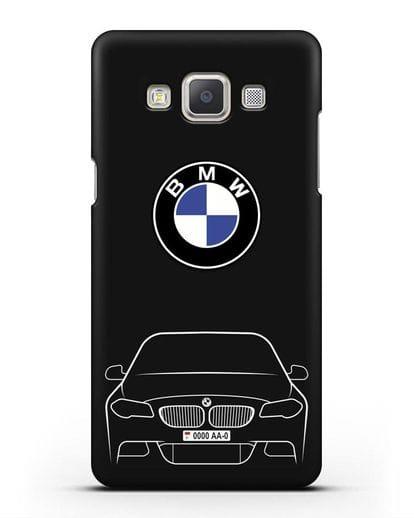 Чехол BMW 5 с автомобильным номером силикон черный для Samsung Galaxy A7 2015 [SM-A700F]