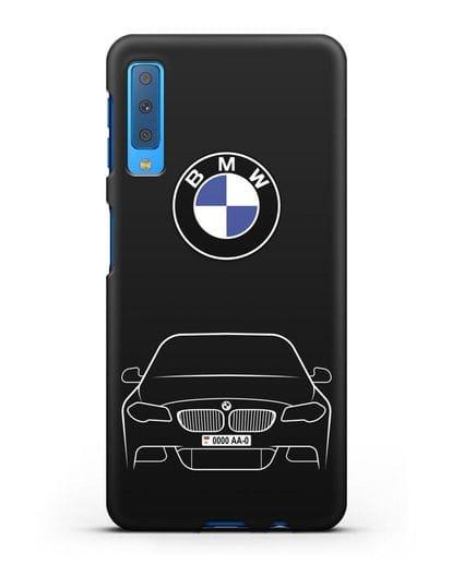 Чехол BMW 5 с автомобильным номером силикон черный для Samsung Galaxy A7 2018 [SM-A750F]