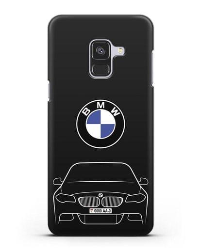Чехол BMW 5 с автомобильным номером силикон черный для Samsung Galaxy A8 Plus [SM-A730F]