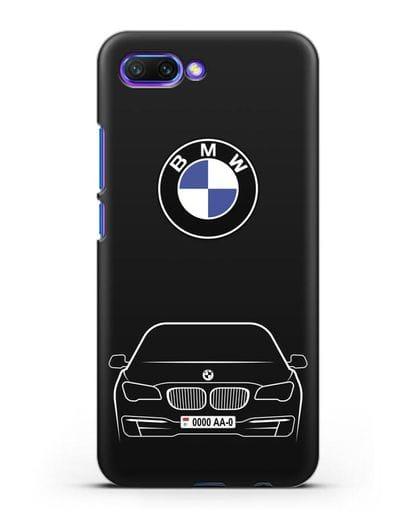 Чехол BMW 7 с автомобильным номером силикон черный для Honor 10