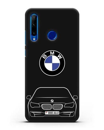 Чехол BMW 7 с автомобильным номером силикон черный для Honor 10i