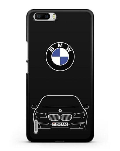 Чехол BMW 7 с автомобильным номером силикон черный для Honor 6 Plus